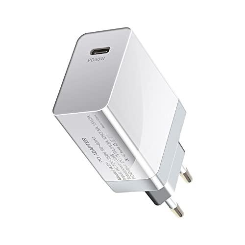 QiKun-Home PD 30W Cargador de Viaje Cargador de protocolo de Carga rápida Tipo-C Adaptador de Cargador de Viaje Pequeño Cargador de Carga rápida Cabeza Blanco EU