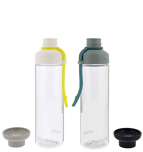 Rubbermaid Water Bottle Set, 2 Pack - 20-Ounce Reusable Water Bottles for On-The-Go Drinking With Convenient Carry Strap - Ideal For Gym and Travel - Twist-Off Cap, Easy Refill, and Dishwasher Safe