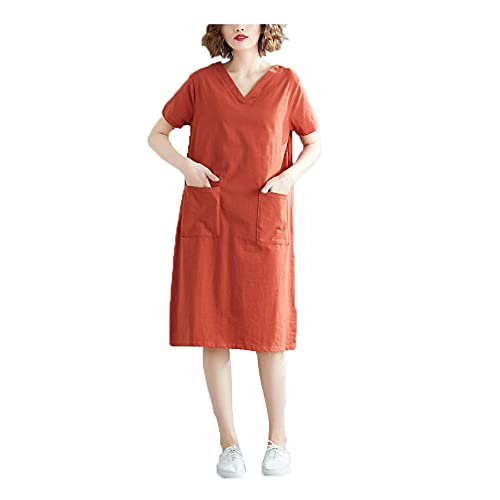 Vestidos de Gran TamañO para Mujeres, Vestidos de Verano para NiñAs un Poco Gordas Usan Vestidos Sueltos de Manga Corta de Color SóLido de Moda Casual Camisetas Faldas de Longitud Media Casuales