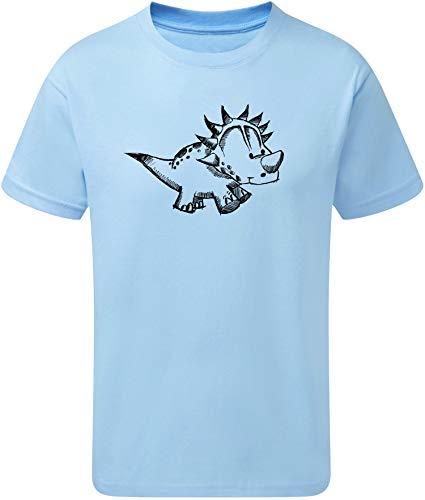 Kinder T-Shirt: Kleiner Dino - Dinosaurier Saurier - Shirt für Junge Jungen & Mädchen Kind Geschenk-Idee - Jurassic Land EIS Planet Ice - Blau - Pyjama Kostüm GeburtstagSchlafanzug (122/128)