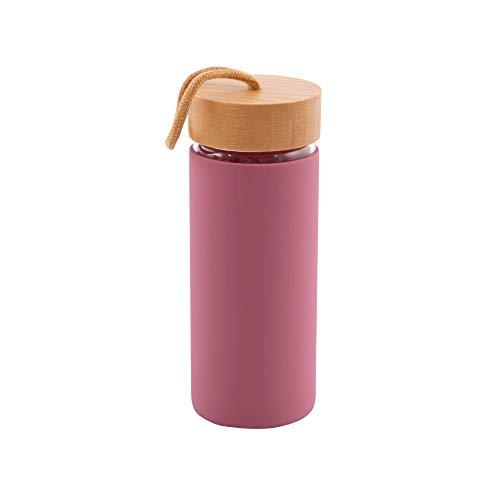 Point-Virgule - Botella de cristal reutilizable, con tapón de bambú y funda de silicona envejecida, 450 ml, color rosa
