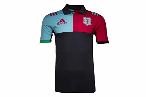 adidas Harlequins 2016/17 Players Performance Rugby Polo Shirt - Dark Grey/Red Beauty/Frost Blue - Size S
