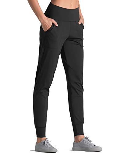 Dragon Fit Joggers for Women with Pockets,High Waist Workout Yoga Tapered Sweatpants Women's Lounge Pants (Joggers78-Black, Medium)