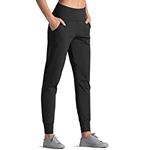 Joggers for Women with Pockets, High Waist Workout Yoga Tapered Sweatpants ...