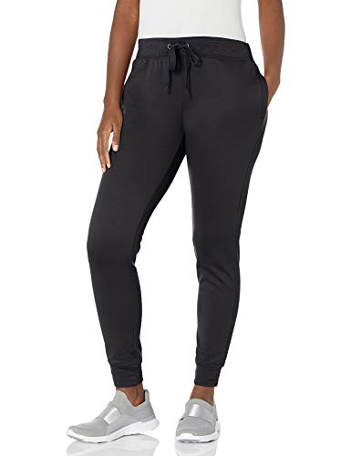 Hanes Women's Sport Performance Fleece Jogger Pants with Pockets, Black Solid/Black Heather, M