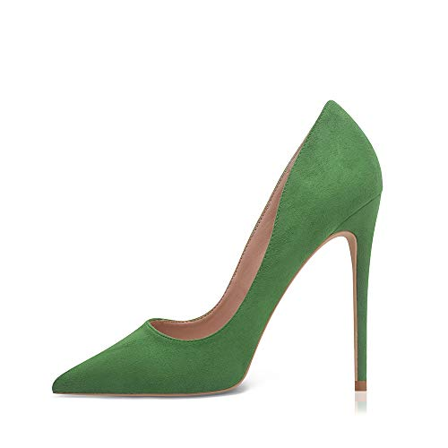 High Heels, Women Pumps Pointed Toe Stilettos Suede Heels 4.7 inch/12cm Sexy Heels Party Shoes (Green, 5)
