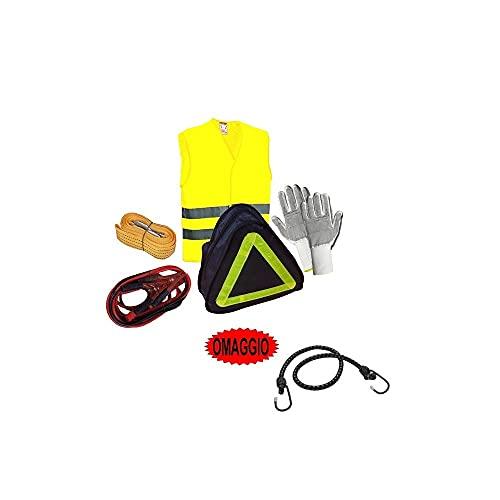 Compatible con AIXAM Kit de emergencia de 1 par de guantes, 1 cable de batería de 150 A, 1 cuerda de remolque de 3 m, 1 chaleco reflectante.
