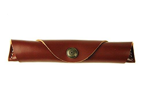Scrodcat Federmappe aus weichem Echtleder, handgefertigt, Vintage-Stil, weich, schmal, Geschenk (Rot und Braun)