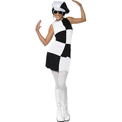 NET TOYS Sechziger Jahre Kostüm Party Girl Outfit weiß schwarz L 44/46 60er Jahre Kleid Kleid schwarz weiß Faschingskostüm Damenkostüm Karneval