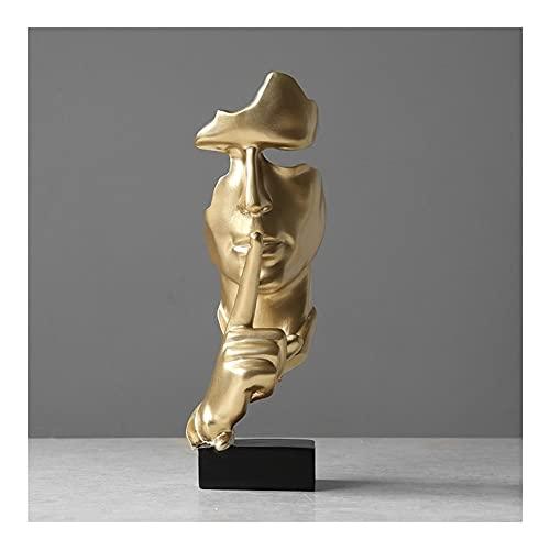 YINGZI Máscara De Resina Ornamento De La Escultura Hand Sculpture Personaje Figura Abstracta Escultura Decorativa para La Oficina En Casa (Oro)