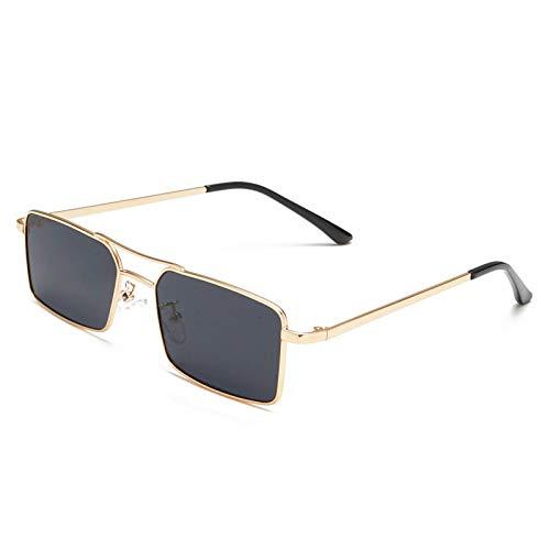Gafas de Sol Sunglasses Gafas De Sol Cuadradas Rectangulares De Piloto Poligonal para Mujer, Retro, para Hombre, Gafas De Sol De Diseñador De Marca, Montura De Metal con Espejo Y G