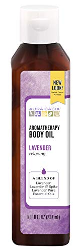 Aura Cacia Relaxing Lavender Aromatherapy Body Oil | GC/MS Tested for Purity | 237ml (8 fl. oz.)