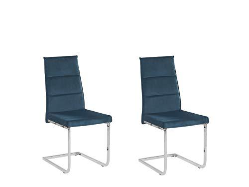 Beliani Conjunto de 2 sillas de Comedor en Terciopelo Azul Rockford