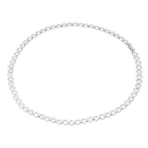 Collar de cadena simple de acero inoxidable apilado Hip Hop diario 50 cm largo collar joyería para hombres y mujeres