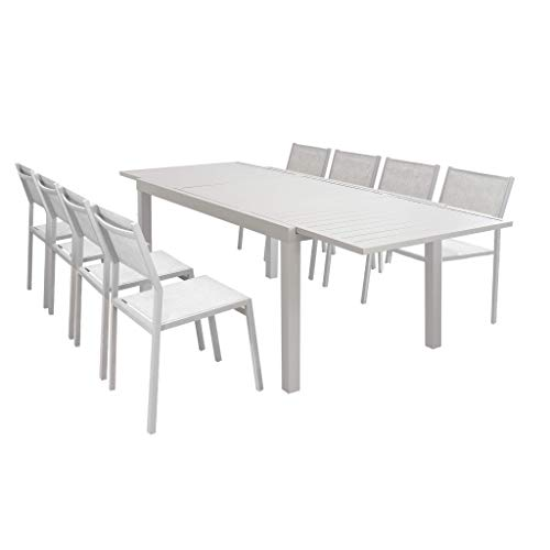 Milani Home s.r.l.s. Set Tavolo Giardino Rettangolare allungabile 160/240 x 90 con 8 sedie...