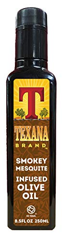 in budget affordable Texana brand olive oil, smoky & mesquite, 250 ml
