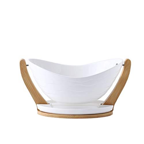 MQH Cesta de Frutas Cuencos de Frutas de cerámica, Canasta de la Fruta de la casa Moderna Creativa, Mesa de café, merienda, Bata de Bandeja de Caramelo. Pisos Cuencos (Color : White)