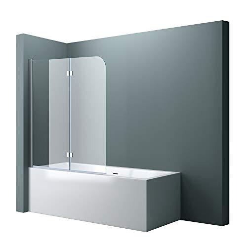 doporro BxH: 120x140 cm Duschabtrennung Duschwand für Badewanne aus Glas Badewannenfaltwand CORTONA1408 / inkl. Nanobeschichtung,Badewannenaufsatz, 6mm ESG-Sicherheitsglas,