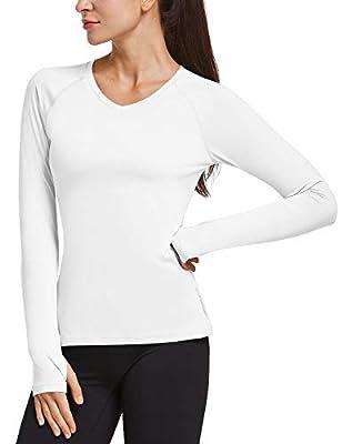 BALEAF Women's Long Sleeve Running Shirts Thumbholes Quick Dry V-Neck Workout T-Shirts Exercise Hiking White S