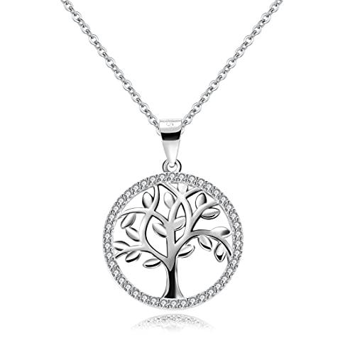 Bo&Pao Lebensbaum Kette Damen Sterling Silber 925, Halskette Baum des Lebens für Mama, 45 cm verstellbar