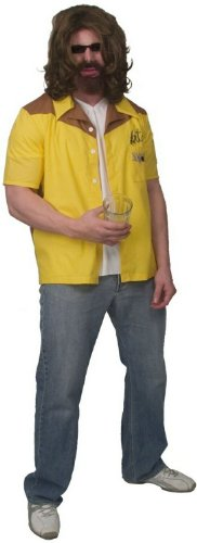 The Big Lebowski Team Dude Bowling Gold Button-Down Shirt Kostüm (Small)
