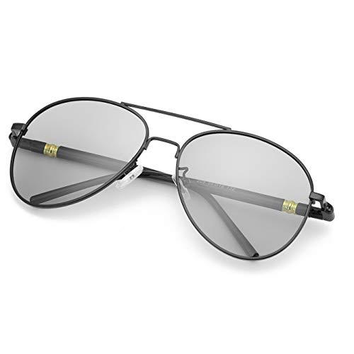 TJUTR Polarizadas Gafas de Sol Fotocromaticas Hombre, Aviador Metal Marco Antideslumbrante -100% Protección UVA UVB (Negro/Gris)
