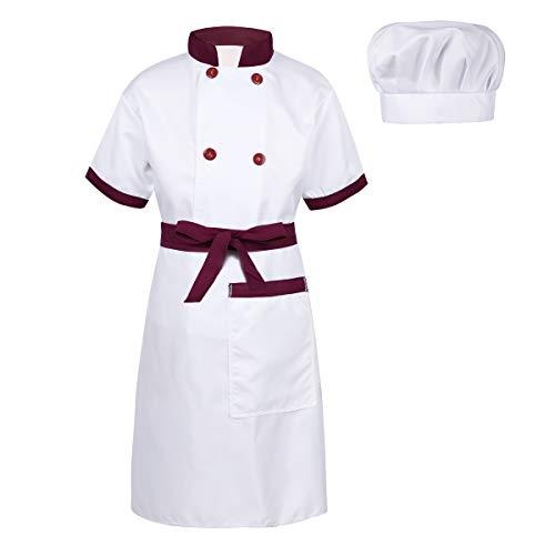 inlzdz Kinder Jungen Mädchen Koch Kostüm Chef Kleidung Set Kurzarm Koch Shirt Jacke mit Schürze, Mütze Chefkoch Cosplay Karneval Fasching Kostüm Burgundy&Weiß 152-164