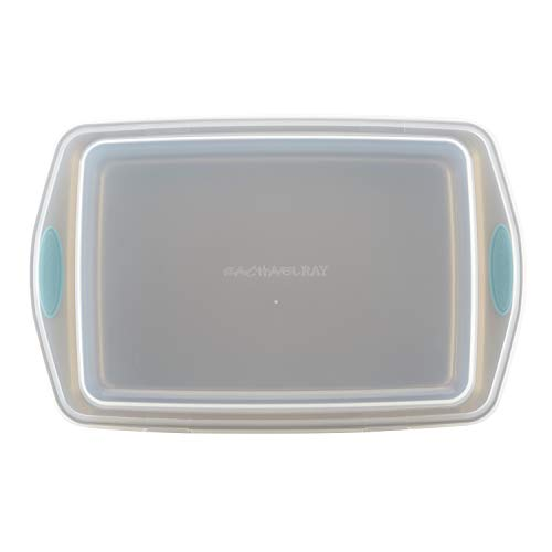 Rachael Ray Cucina Nonstick Baking Pan With Lid and Grips/ Nonstick Cake Pan With Lid and Grips, Rectangle - 9 Inch x 13 Inch, Brown