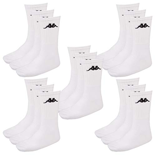 Kappa 15 Paar SONOTU 3 Sportsocken Gr. 35-46 Unisex Tennissocken, Socken und Strümpfe:39-42, Farbe:White