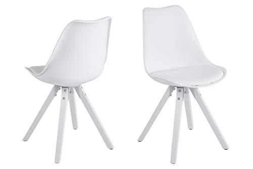 Amazon Brand - Movian Arendsee - Juego de 2 sillas de comedor, 55 x 48,5 x 85cm, blanco