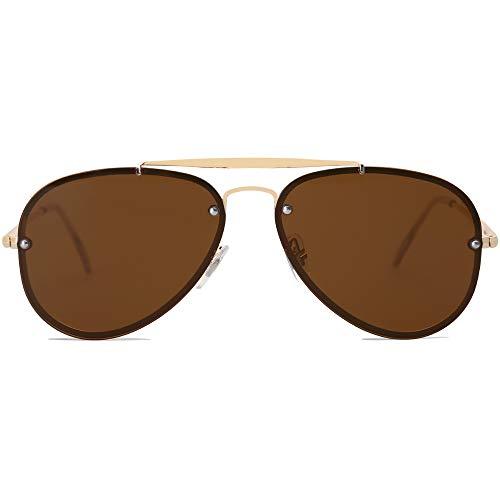 SOJOS Men#039s Women#039s Aviator Sunglasses Rimless Metal Frame TRENDALERT SJ1105 with Gold Frame/Brown Lens