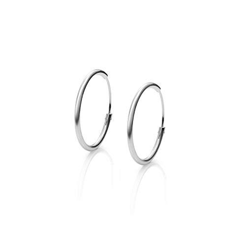Pendientes Aros Plata Mujer de 14-16- 22-25-30-40-50-55-60-70 y 80 mm. Regalos para tu Novia Originales en Plata de Ley (16 mm)