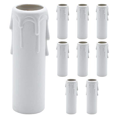 SPTwj 9er-Pack Kerzen-Tropfhülsen 25mm x 100mm Weiße Kunststoff-Kerzenabdeckungen Röhren Hülsen für Leuchten Kronleuchter Wandleuchten Lampen Pendelleuchten Ersatz- und Weihnachtsdekoration