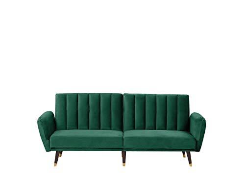 Beliani 3-Sitzer Schlafsofa aus Samtstoff in Smaragdgrün Glamour Stil Vimmerby