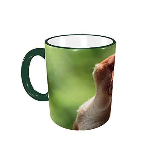 Taza de café, Mono narigudo Divertido, Tazas de café de Nariz Larga, Tazas de cerámica con Asas para Bebidas Calientes, Capuchino, café con Leche, té, café, Regalos, 12 oz Green