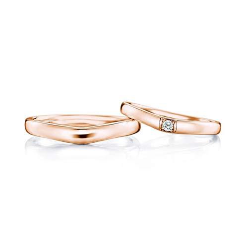 Daesar 18K Rotgold Trauringe Damen Herren V-Ringe Rund 2.7MM 3.2MM Hochzeit Ringe Verlobungsringe mit 0.05ct Diamant Damen Gr.60 (19.1) + Herren Gr.63 (20.1)