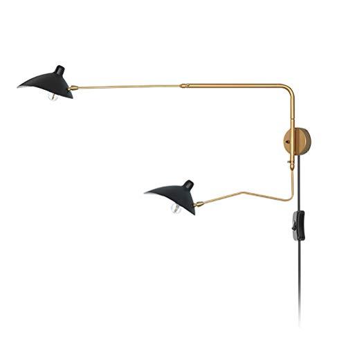 Apliques de Pared Retro 2 luces con Interruptor, Lámpara de pared de Cabecera E27 con Cable de 1,8 m y Enchufe, Izquierda/Derecha Ajustable de oro del metal de brazo largo, para Dormitorio Salón