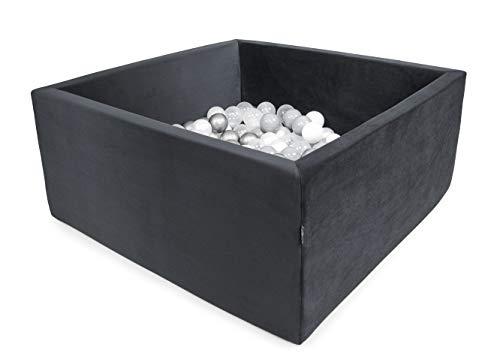 XXL Luxus Bällebad Spielbecken Bällepool für drinnen und draußen (90x90x40 mit 200 Bälle, Dunkelgrau-Velvet)