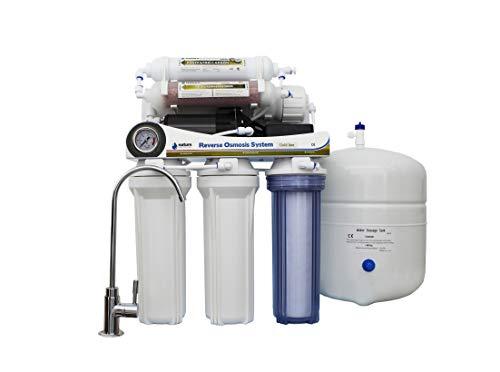 NATURE WATER PROFESSIONALS Equipo de Osmosis Inversa Domestica de 6 Etapas con Bomba - Membrana Vontron de 50GPD + Filtros Nature Water Professional - Capacidad Media 9L - Filtración de Agua Potable