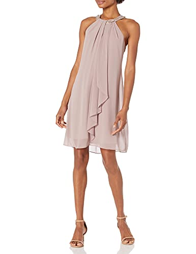 S.L. Fashions Women's Jewel Halter Sheath Dress (Petite and Regular), Cashmere, 12P