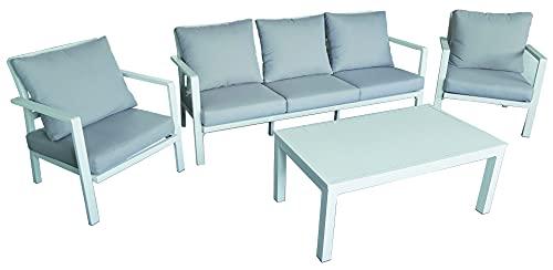 NON APPLICABILE Juego de muebles de jardín de aluminio blanco resistente con silla, banco y mesa de café
