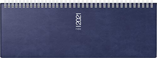 rido/idé 7036132301 Tischkalender/Querterminbuch septant, 2 Seiten = 1 Woche, 305 x 105 mm, Schaumfolien-Einband Catana dnkelblau, Kalendarium 2021, Wire-O-Bindung