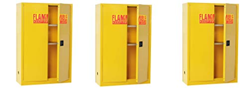"Sandusky Lee SC450F Yellow Steel Safety Cabinet for Flammable Liquids, 2 Shelves, 2 Door Manual Close, 45 Gallon Capacity, 65"" Height x 43"" Width x 18"" Depth (Pack of 3)"