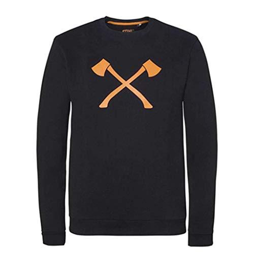 Stihl sweatshirt bijl, kleur zwart, 100% katoen, met opdruk achter TIMBERSPORTS L zwart.