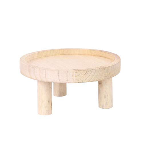 YIREAUD Mini Wooden Stool Display Stand Modern Plant Stand,10in Round Stool Tray Plant Stand for Indoor Or Outdoor Artificial Potted Plants Home Display