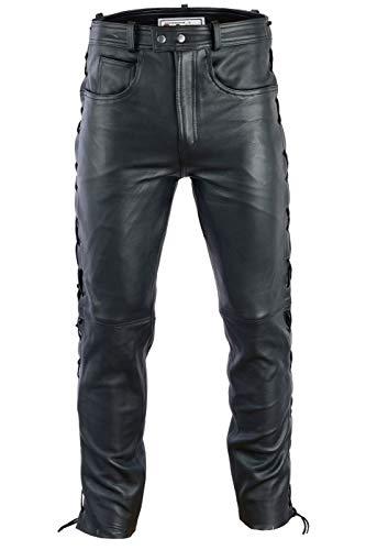 Radmasters Herren Lederhose lederjeans bikerjeans jeans hose aus echtleder seitlich geschnürt, 58/3XL, Schwarz