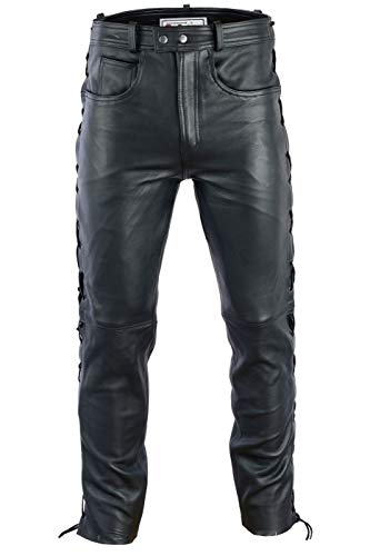 Radmasters Herren Lederhose lederjeans bikerjeans jeans hose aus echtleder seitlich geschnürt, 46/XS, Schwarz