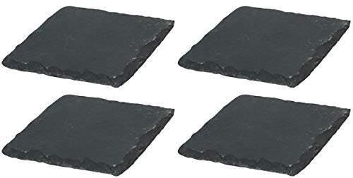 Novaliv 4X Schieferplatten I quadratisch I 20x20x0,5 cm I Sushi Servier Set Servierplatte schwarz Steinplatten Slate Plate Dessert Platte Serving Plate