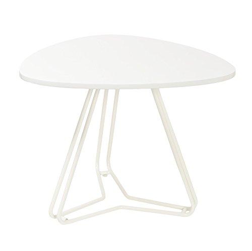 Tavolo d'appoggio tavolino da salotto – ovale - 60 x 53 cm – bianco - lastra in MDF