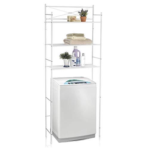 CARO-Möbel Waschmaschinenregal MARSA Toilettenregal Badezimmerregal Bad WC Stand Regal mit 3 Ablagen in weiß
